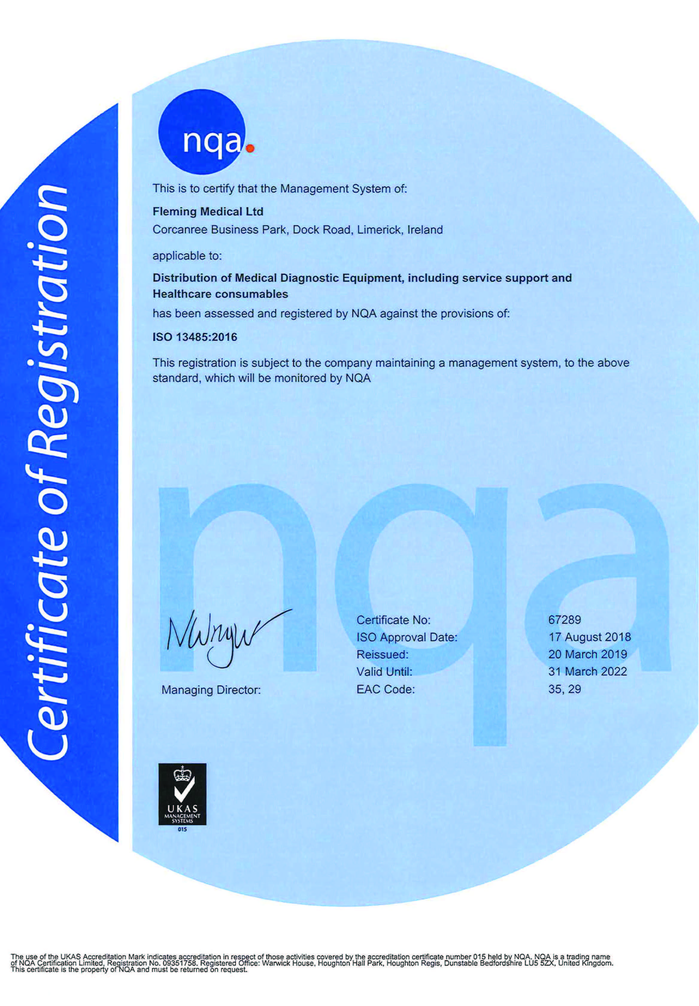 NQA ISO 13485-2016 Certification - Fleming Medical