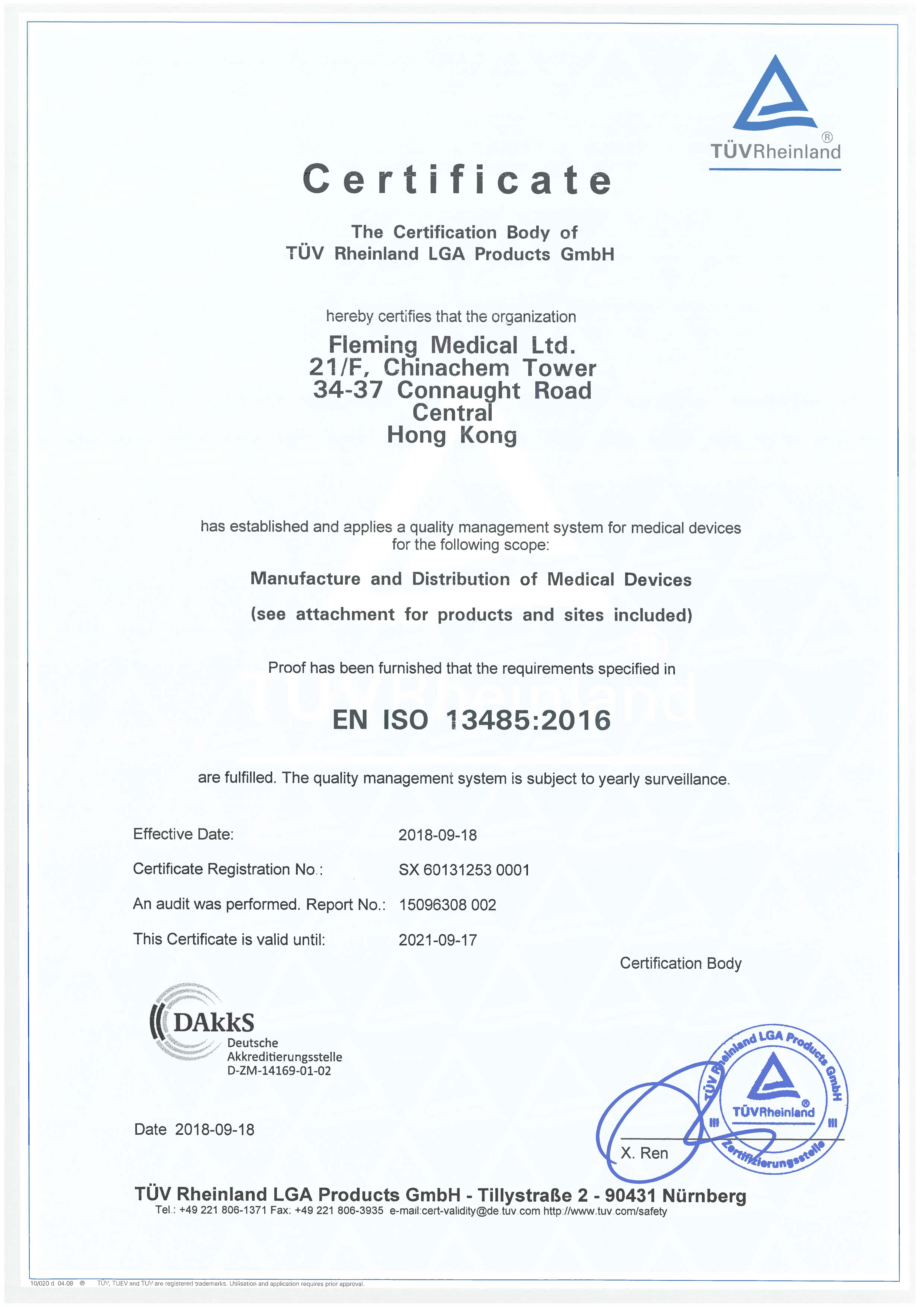 TUV ISO 13485-2016 Certification - Fleming Medical