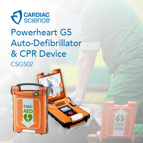 Promotional image for the Powerheart G5 defibrillator, available from Fleming Medical Equipment