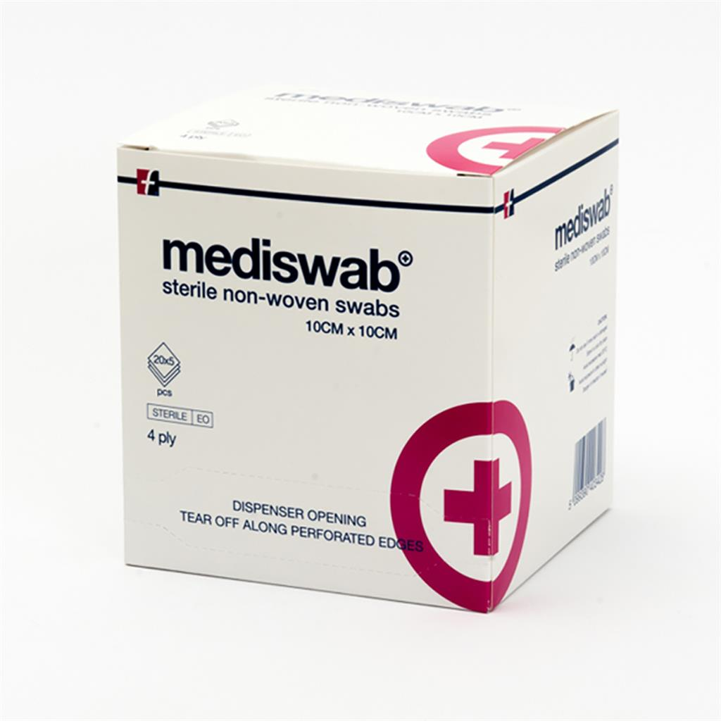 MEDISWAB STERILE NON WOVEN SWABS 10X10CM 20X5'S