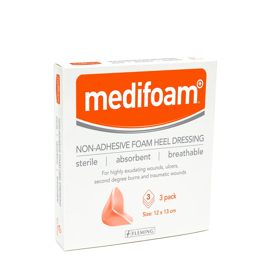 MEDIFOAM NON ADHESIVE FOAM HEEL DRESSING 12X13CM (BOX OF 3)