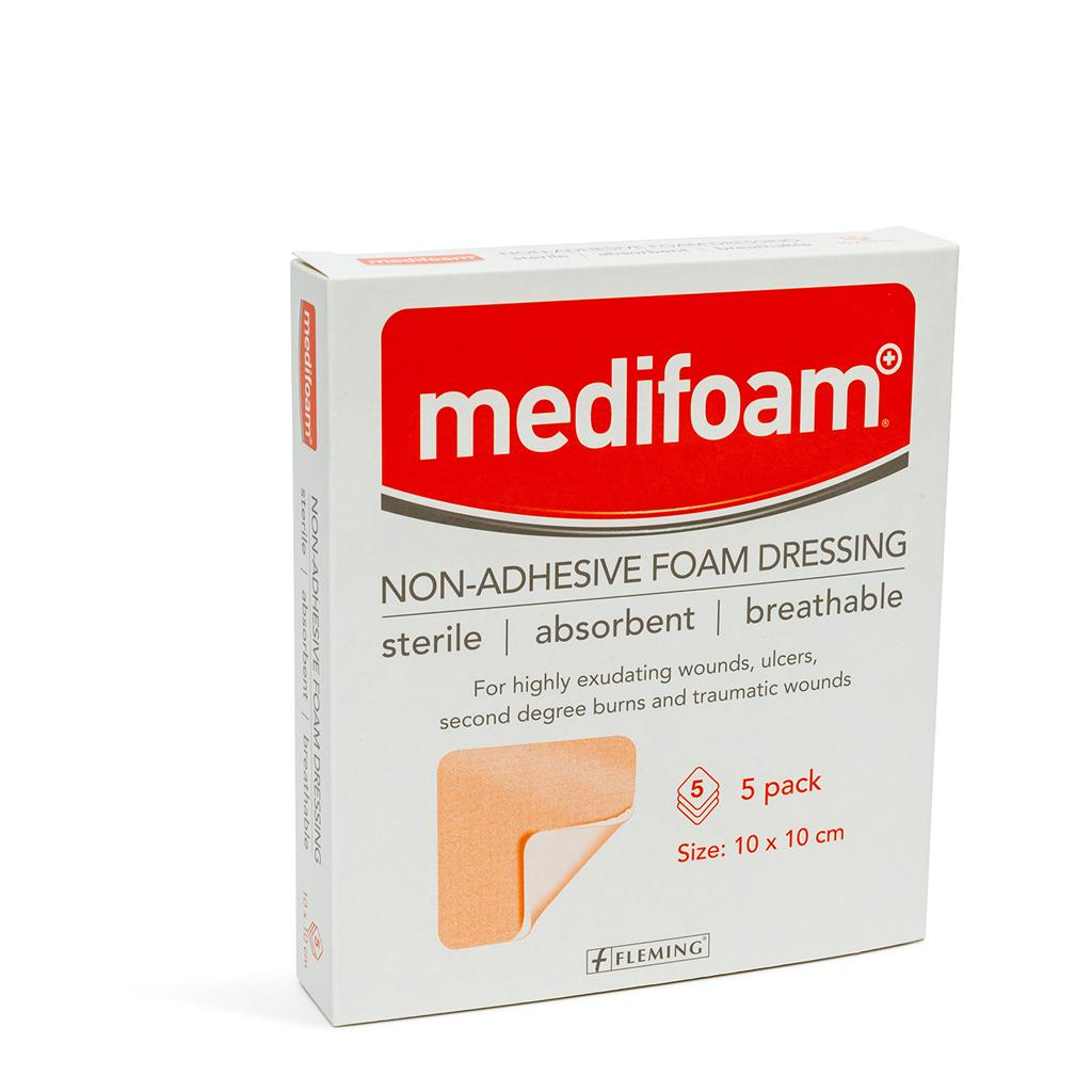 MEDIFOAM NON ADHESIVE FOAM DRESSING 10X10CM (BOX OF 5)