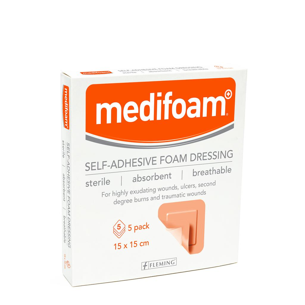 MEDIFOAM SELF-ADHESIVE FOAM DRESSING 15X15CM (BOX OF 5)