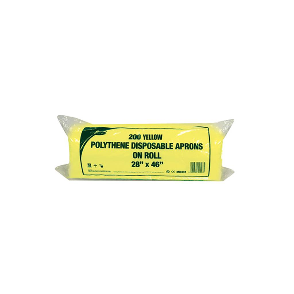 "MEDI POLYETHENE APRONS 26""X42"" ROLL YELLOW 200's"