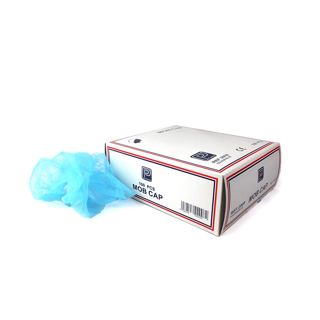 PREMIER MOB CAP BLUE IN CARDBOARD DISPENSER (100'S)