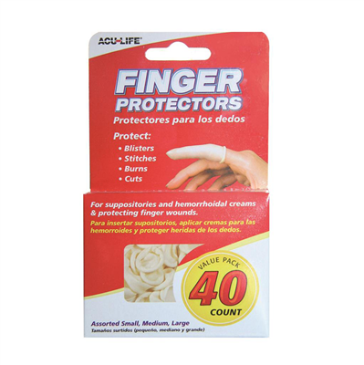 ACULIFE FINGER COTS S/M/L 40'S