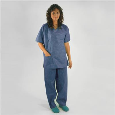 BV SCRUB SUITS PP non woven Tunic V collar/Pant with elastic on waist NON STERILE X-Large - 38g/m2