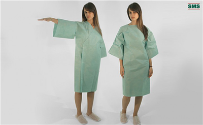 BV TISSUE GOWNS 67% polyester + 33% cotton NON STERILE UNISEX - FRONT OPENING Small - White