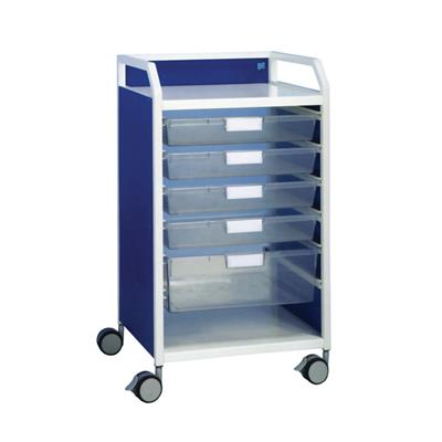 HOWARTH 1 TROLLEY -  4 SHALLOW TRAYS & 1 DEEP TRAY - WHITE
