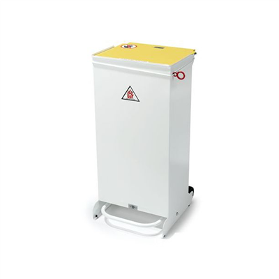 HSE METAL BIN 70LTR WHITE - SLOW CLOSING FRONT ACCESS
