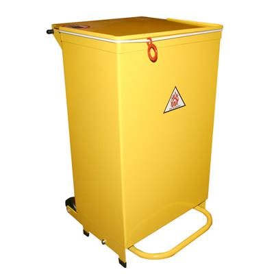 HSE METAL BIN 70LTR YELLOW - SLOW CLOSING FRONT ACCESS