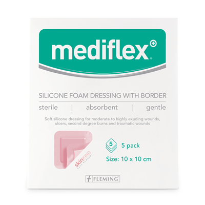 MEDIFLEX BORDERED SILICONE FOAM 10CM X 10CM (BOX OF 5)