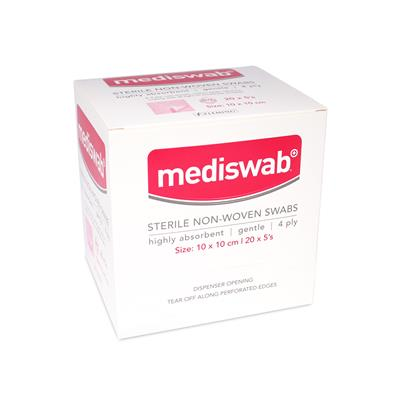 MEDISWAB STERILE NON WOVEN SWABS 10X10CM (BOX OF 20)