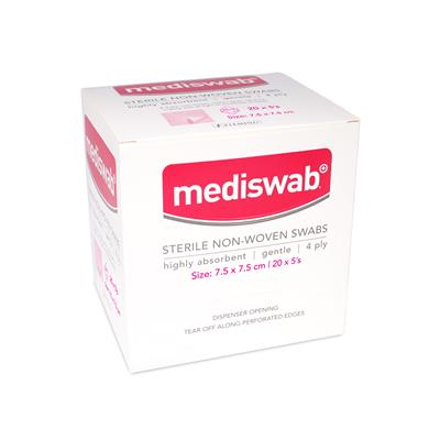 MEDISWAB STERILE NON WOVEN SWABS 7.5X7.5CM (BOX OF 20)