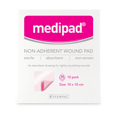 MEDIPAD STERILE NON ADHERENT PAD 10X10CM (BOX OF 10)