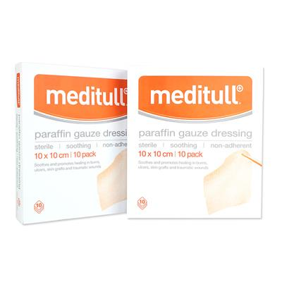 MEDITULL PARAFIN GAUZE DRESSING 5*5CM (BOX OF 10)