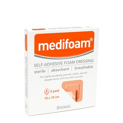 MEDIFOAM ADHESIVE FOAM DRESSING 10X10CM (BOX OF 5) | Fleming