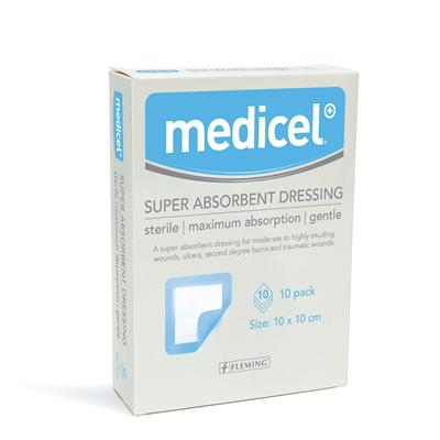 MEDICEL SUPER ABSORBENT PAD 10CM X 10CM (BOX OF 10)