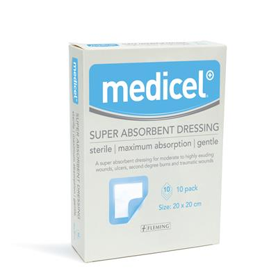 MEDICEL SUPER ABSORBENT PAD 20CM X 20CM (BOX OF 10)