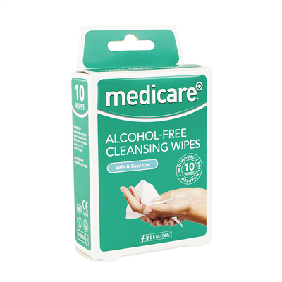 MEDICARE ALCOHOL FREE CLEANSING WIPES 10'S