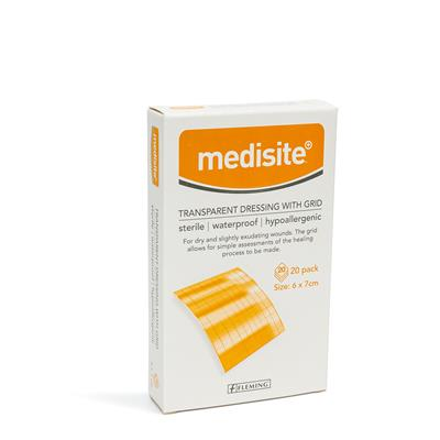 MEDISITE TRANSPARENT DRESSING GRID 6 X 7CM (BOX OF 20)