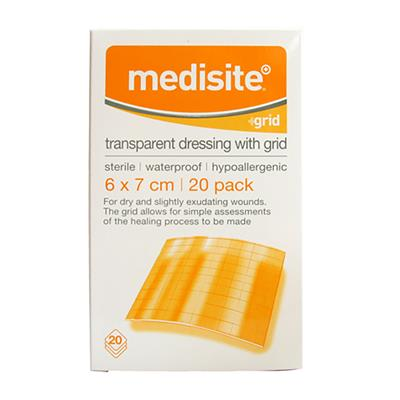 MEDISITE TRANSPARENT DRESSING WITH GRID 6 X 7CM