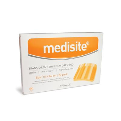 MEDISITE TRANSPARENT THIN FILM DRESSING 15X26CM (BOX OF 20)