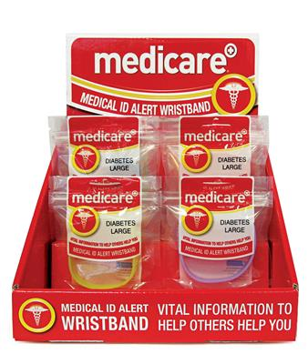 MEDICARE MEDICAL ID BAND DISPLAY STAND WITH 24 BANDS