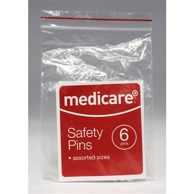 MEDICARE ASSORTED SAFETY PINS 6'S
