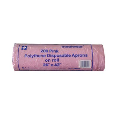 "MEDICARE POLYTHENE APRONS 26""X42"" ROLL PINK 200's"
