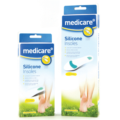 MEDICARE SILICONE FULL LENGTH INSOLES MEDIUM