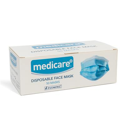 MEDICARE PPE DISPOSABLE 3PLY FACE MASK PK 50