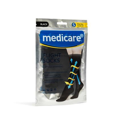 MEDICARE FLIGHT SOCKS BLACK MEDIUM