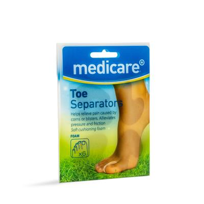 MEDICARE ASSORTED FOAM TOE SEPERATORS 6'S (DISPLAY OF 10)