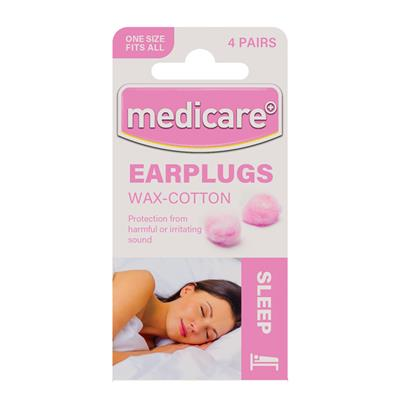MEDICARE EAR PLUGS WAX COTTON (4 Pairs)