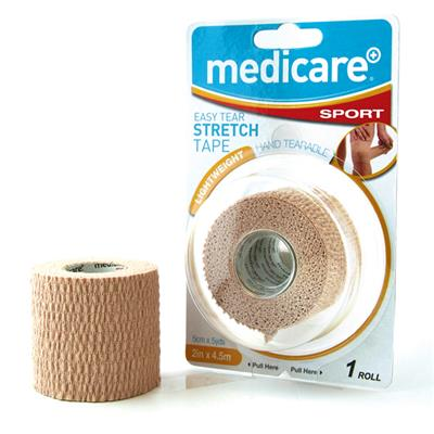 "MEDICARE SPORT EASY TEAR STRETCH TAPE 2"" X 4.5M"