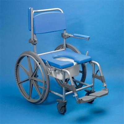 DELUXE SHOWER COMMODE CHAIR WITH 4 LOCKABLE WHEELS