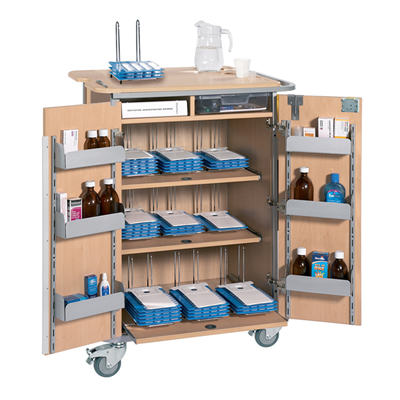 SUNFLOWER MONITORED DOSAGE SYSTEM TROLLEY - LARGE, 9 RACKS