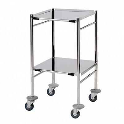 SUNFLOWER SURGICAL TROLLEY - 2 REMOVEABLE REVERSIBLE FOLDED STAINLESS STEEL SHELVES