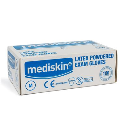 MEDISKIN LATEX GLOVES LIGHTLY POWDERED MEDIUM (100's)