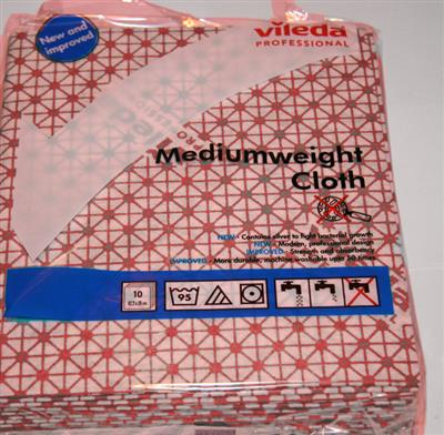 VILEDA MEDIUM WEIGHT CLOTHS RED (10'S)